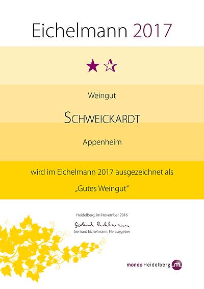 Auszeichnung im Weinführer Eichelmann 2017 - Weingut Schweickardt